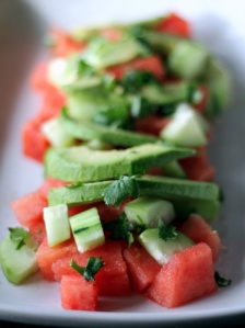 Juicy ripe watermelons, creamy avocado, annnnnddd lime + cilantr